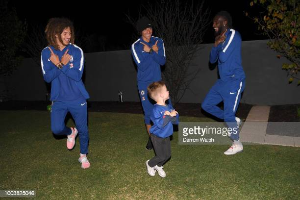 Chelsea's David Luiz Tiemoue Bakayoko and Ethan Ampadu play football and practise goal celebrations after surprising young Chelsea fan Hudson...