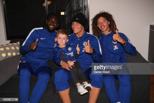 Chelsea's David Luiz Tiemoue Bakayoko and Ethan Ampadu surprise young Chelsea fan Hudson McCarthy with a visit to his Perth home after receiving a...