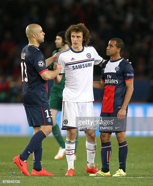 Chelsea's David Luiz With PSG's Alex And Lucas Moura After