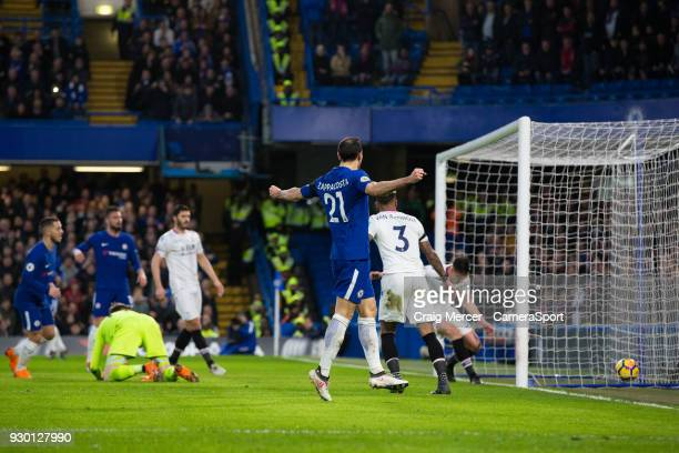 Chelsea's Davide Zappacosta celebrates his side's second goal during the Premier League match between Chelsea and Crystal Palace at Stamford Bridge...