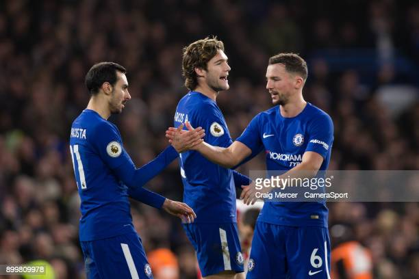 Chelsea's Davide Zappacosta celebrates scoring his side's fifth goal with team mates Daniel Drinkwater and Marcos Alonso during the Premier League...