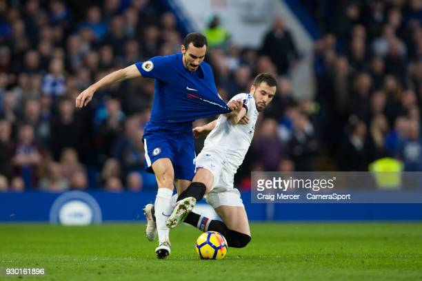 Chelsea's Davide Zappacosta is fouled by Crystal Palace's Luka Milivojevic during the Premier League match between Chelsea and Crystal Palace at...