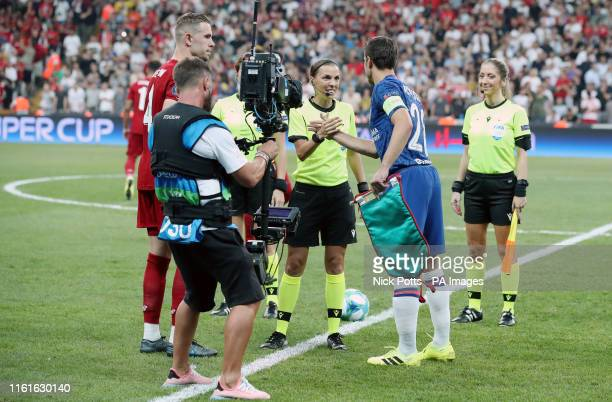 Chelsea's Davide Zappacosta shakes hands with match referee Stephanie Frappart during the UEFA Super Cup Final at Besiktas Park Istanbul