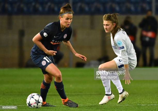 Chelsea's defender Hannah Blundell vies with Montpellier's Danish midfielder Katrine Veje during the UEFA Women's Champions League quaterfinal...