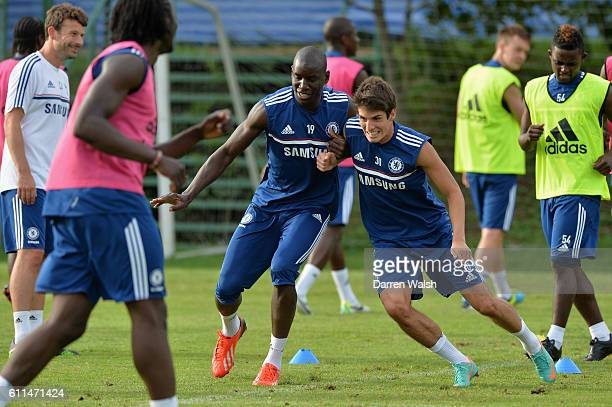 Chelsea's Demba Ba Lucas Piazon during a training session at the International School of Bangkok on July 14th 2013 in Bangkok Thailand