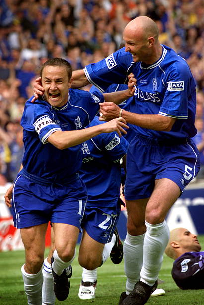 Chelsea's Dennis Wise celebrates with Franck Leboeuf after scoring a goal during the F.A Cup final at Wembley Saturday 20 May. The goal was...