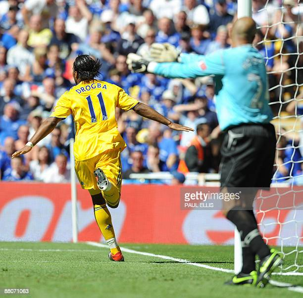 Chelsea's Didier Drogba celebrates after scoring against Everton in the FA Cup final at Wembley in north Londonon May 30 2009 AFP PHOTO/PAUL ELLIS