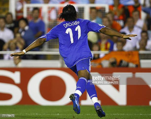 Chelsea's Didier Drogba celebrates after scoring against Valencia during a UEFA Champions League Group B football match at the Mestalla stadium in...