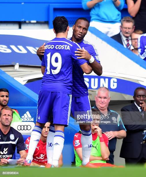 Chelsea's Didier Drogba replaces Diego Costa during the Barclays Premier League match at Stamford Bridge London