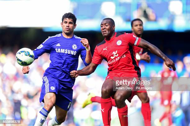 Chelsea's Diego Costa and Leicester City's Wes Morgan battle for the ball during the Barclays Premier League match at Stamford Bridge London