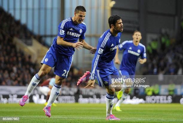 Chelsea's Diego Costa celebrates scoring his team's first goal with Cesar Azpilicueta