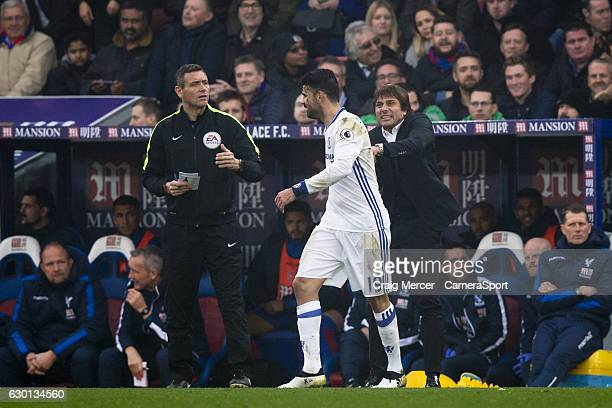 Chelsea's Diego Costa celebrates scoring the opening goal with Chelsea manager Antonio Conte during the Premier League match between Crystal Palace...