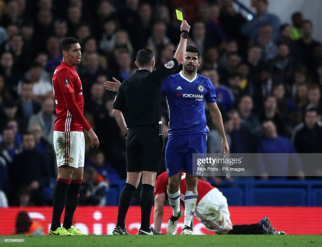 Chelsea's Diego Costa is given a yellow card during the Emirates FA Cup, Quarter Final match at Stamford Bridge, London.