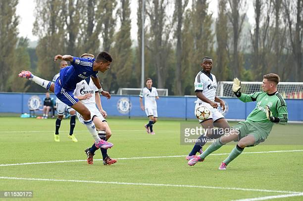 Chelsea's Dominic Solanke scores their second goal