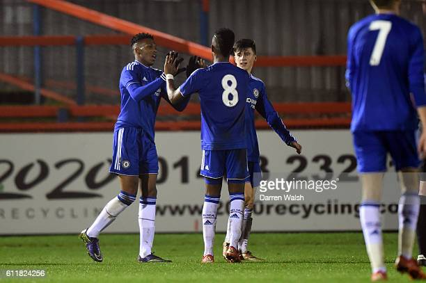 Chelsea's Dujon Sterling celebrates his goal during a 3rd Rd FA Youth Cup match between Chelsea U18 and Huddersfield Town U18 at The EBB Stadium on...