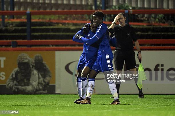 Chelsea's Dujon Sterling celebrates his goal Ike Ugbo during a 3rd Rd FA Youth Cup match between Chelsea U18 and Huddersfield Town U18 at The EBB...
