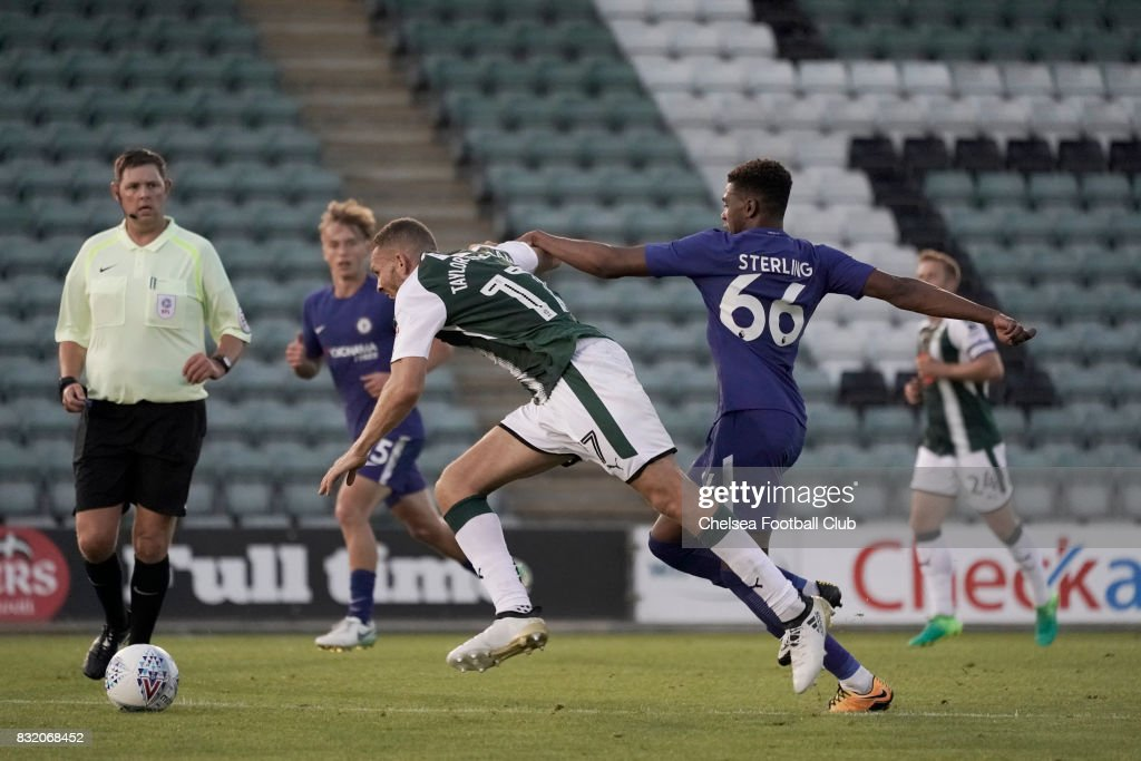 Chelsea's Dujon Sterling clips Plymouth Argyle's Aaron Taylor-Sinclair during the Checkatrade Trophy match at Home Park on August 15, 2017 in Plymouth, England.