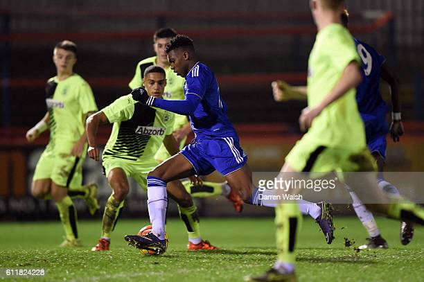 Chelsea's Dujon Sterling during a 3rd Rd FA Youth Cup match between Chelsea U18 and Huddersfield Town U18 at The EBB Stadium on 16th December 2015 in...