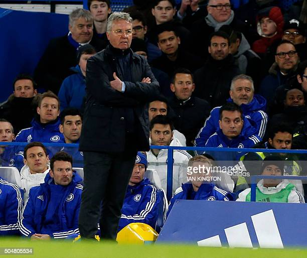 Chelsea's Dutch manager Guus Hiddink watches from the touchline during the English Premier League football match between Chelsea and West Bromwich...
