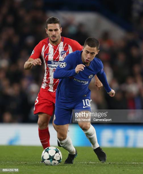 Chelsea's Eden Hazard and Atletico Madrid's Koke during the UEFA Champions League group C match between Chelsea FC and Atletico Madrid at Stamford...