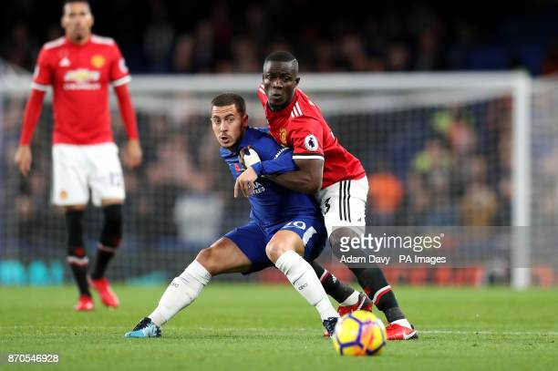Chelsea's Eden Hazard and Manchester United's Eric Bailly battle for the ball during the Premier League match at Stamford Bridge London