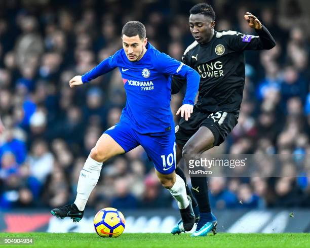 Chelsea's Eden Hazard battles for possession with Leicester City's Onyinye Wilfred Ndidi during the Premier League match between Chelsea and...
