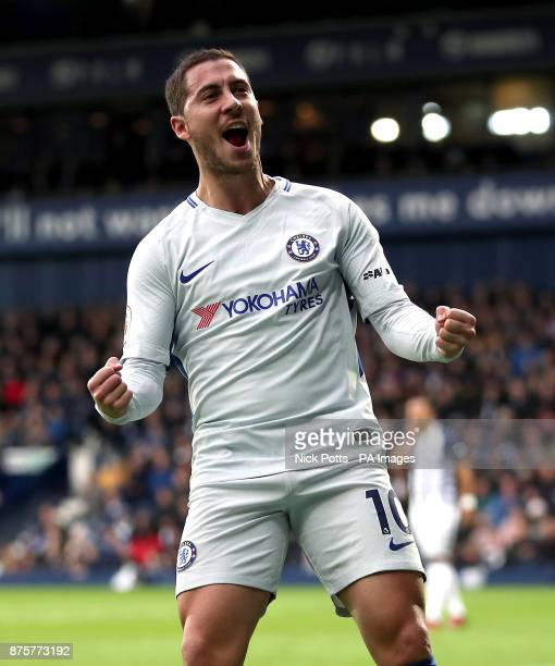 Chelsea's Eden Hazard celebrates his side's first goal of the game scored by Alvaro Morata during the Premier League match at The Hawthorns West...
