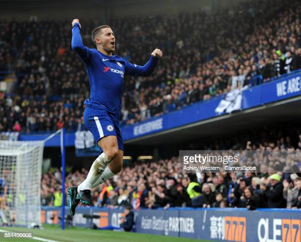 Chelsea's Eden Hazard celebrates scoring his side's equalising goal to make the score 11 during the Premier League match between Chelsea and...