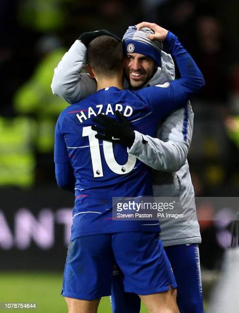 Chelsea's Eden Hazard celebrates scoring his side's first goal of the game with substitute Cesc Fabregas