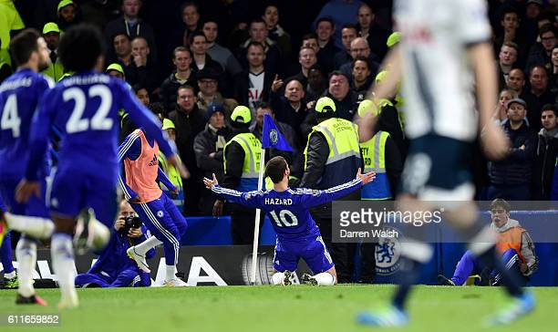 Chelsea's Eden Hazard celebrates scoring his side's second goal of the game