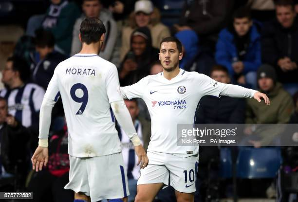 Chelsea's Eden Hazard celebrates scoring his side's second goal of the game with Alvaro Morata during the Premier League match at The Hawthorns West...