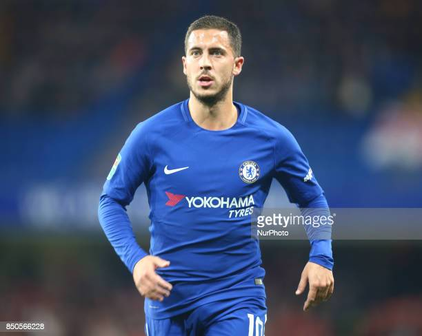 Chelsea's Eden Hazard during Carabao Cup 3rd Round match between Chelsea and Nottingham Forest at Stamford Bridge Stadium London England on 20 Sept...