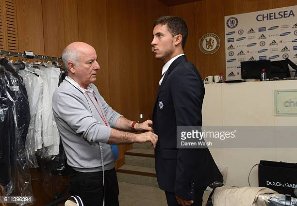 Chelsea's Eden Hazard during his Dolce Gabbana suit fitting at the Cobham training ground on 5th July 2012 in Cobham England