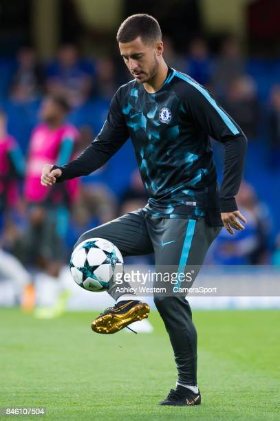 Chelsea's Eden Hazard during the prematch warmup before the UEFA Champions League group C match between Chelsea FC and Qarabag FK at Stamford Bridge...