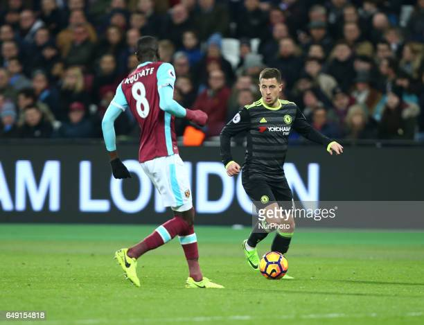 Chelsea's Eden Hazard during the prematch warmup during EPL Premier League match between West Ham United against Chelsea at The London Stadium Queen...