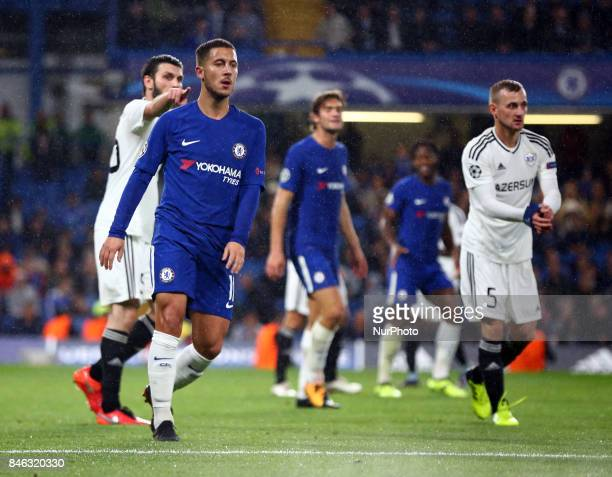Chelsea's Eden Hazard during UEFA Champions League Group C match between Chelsea and FK Qarabag at Stanford Bridge London 12 Sept 2017