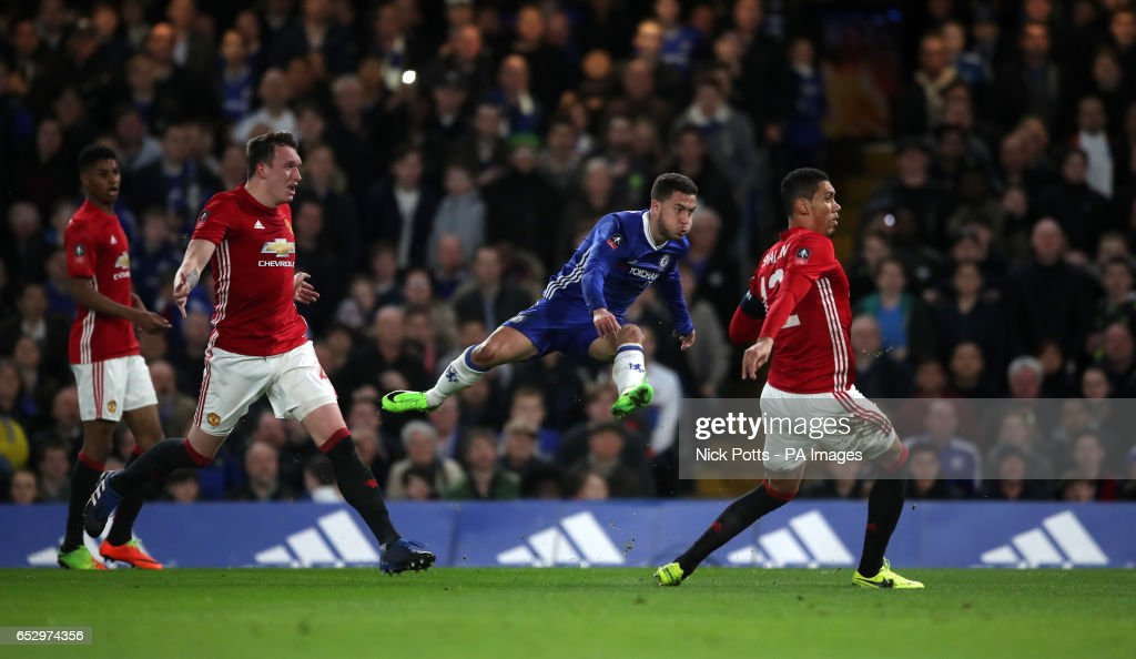 Chelsea's Eden Hazard has a shot which goes wide during the Emirates FA Cup, Quarter Final match at Stamford Bridge, London.