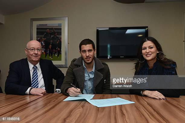 Chelsea's Eden Hazard signs a new contract in the presence of club secretary David Barnard and Director Marina Granovskaia in a club Millennium suite...