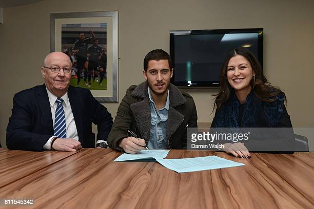 Chelsea's Eden Hazard signs a new contract in the presence of club secretary David Barnard and Director Marina Granovskaia in a club Millennium suite...