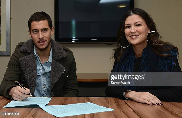 Chelsea's Eden Hazard signs a new contract in the presence of Director Marina Granovskaia in a club Millennium suite at Stamford Bridge on 12th...