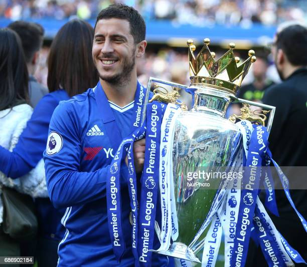 Chelsea's Eden Hazard with Premier League Trophy during the Premier League match between Chelsea and Sunderland at Stamford Bridge London England on...