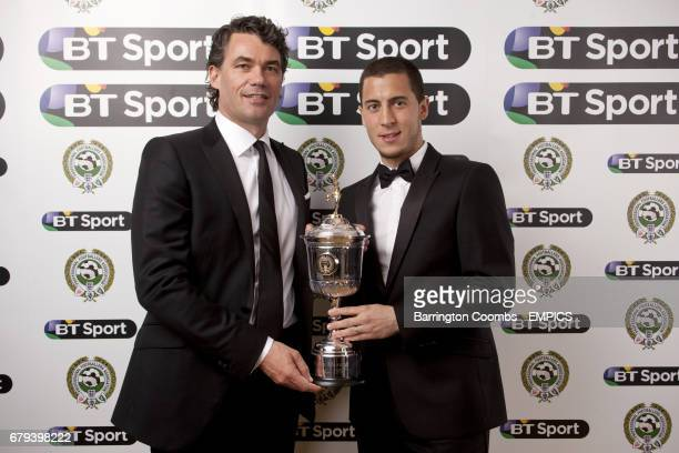 Chelsea's Eden Hazard with the PFA Young Player Of The Year award alongside BT Group Chief Executive Gavin Patterson during the PFA Player of the...