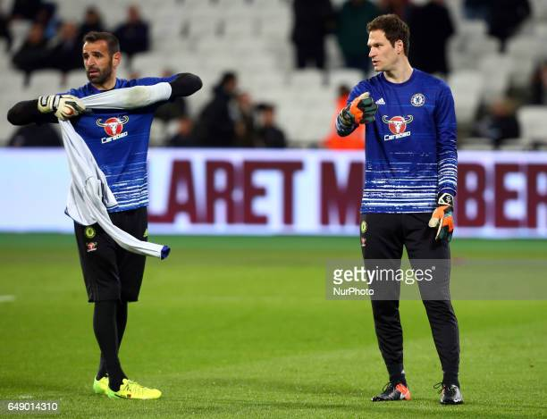 LR Chelsea's Eduardo and Chelsea's Asmir Begovic during the prematch warmup during the prematch warmup during EPL Premier League match between West...