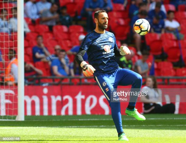 Chelsea's Eduardo during the prematch warmup during the FA Cup semifinal match between Chelsea and Southampton at Wembley London England on 22 April...