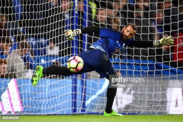 Chelsea's Eduardo during the prematch warmup during the The Emirates FA Cup Sixth Round match between Chelsea and Manchester United at Stamford...