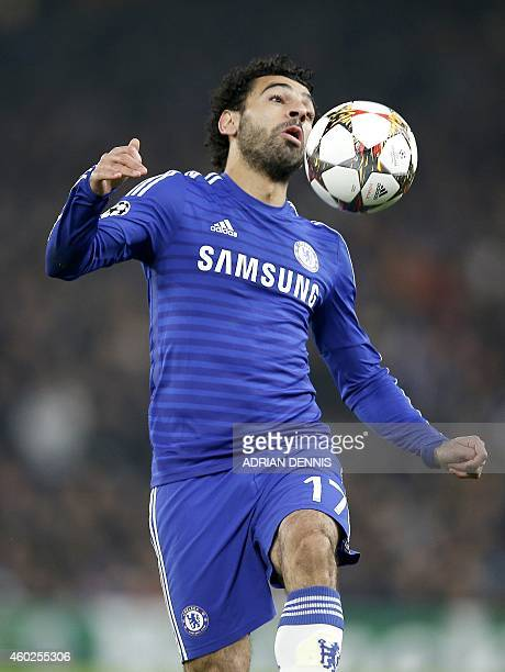 Chelsea's Egyptian midfielder Mohamed Salah controls the ball during the UEFA Champions League group G football match at Stamford Bridge in London on...