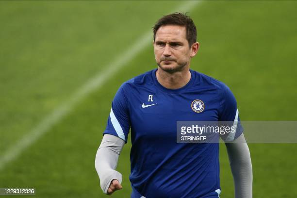Chelsea's English coach Frank Lampard leads a training session of his team at the Krasnodar stadium in Krasnodar on October 27, 2020 on the eve of...