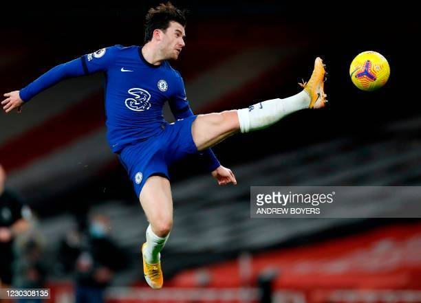Chelsea's English defender Ben Chilwell during the English Premier League football match between Arsenal and Chelsea at the Emirates Stadium in...