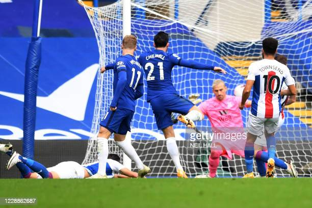 Chelsea's English defender Ben Chilwell scores his team's first goal during the English Premier League football match between Chelsea and Crystal...