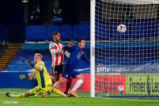 Chelsea's English defender Ben Chilwell sees the ball go into the net to score Chelsea's second goal past Sheffield United's English goalkeeper Aaron...